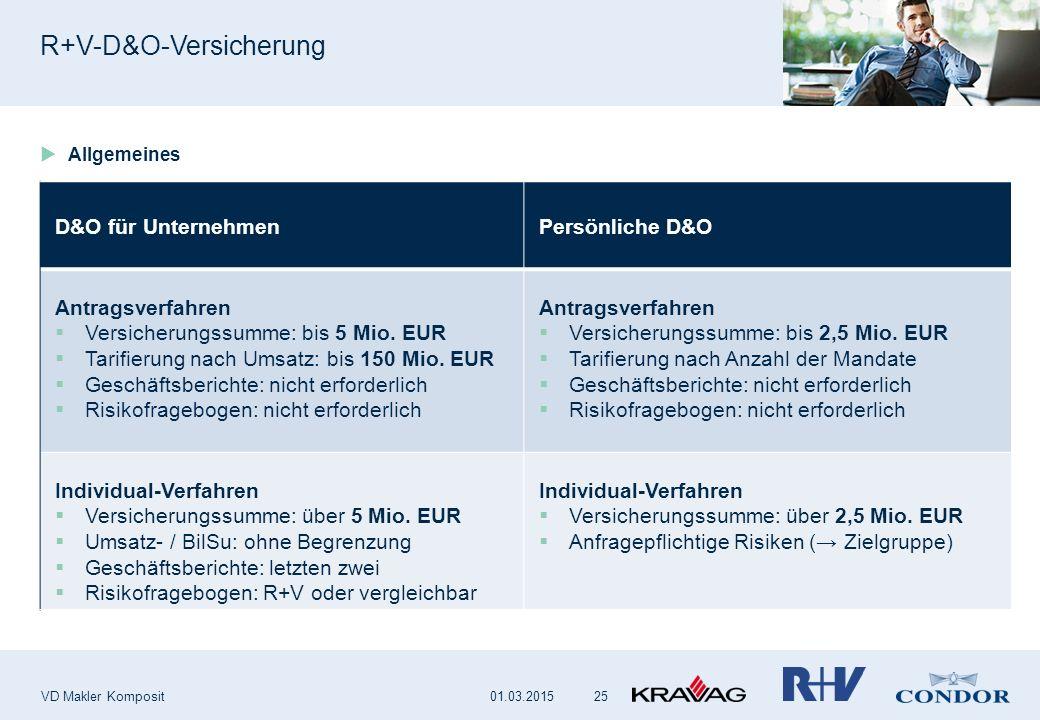R+V-D&O-Versicherung VD Makler Komposit 25 D&O für UnternehmenPersönliche D&O Antragsverfahren  Versicherungssumme: bis 5 Mio. EUR  Tarifierung nach