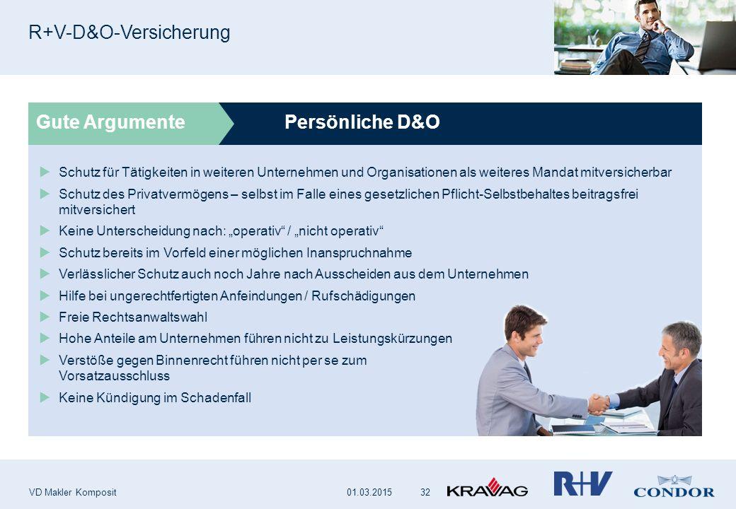 Persönliche D&O R+V-D&O-Versicherung VD Makler Komposit 32 Gute Argumente  Schutz für Tätigkeiten in weiteren Unternehmen und Organisationen als weit
