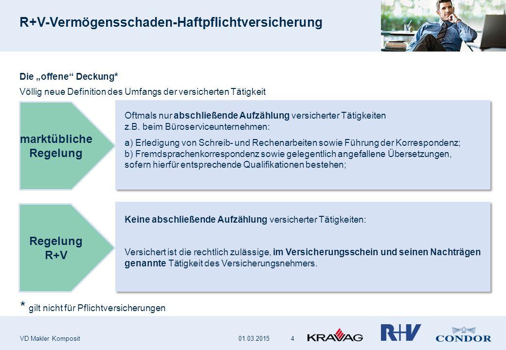 """R+V-Vermögensschaden-Haftpflichtversicherung VD Makler Komposit 4 Die """"offene"""" Deckung * Völlig neue Definition des Umfangs der versicherten Tätigkeit"""
