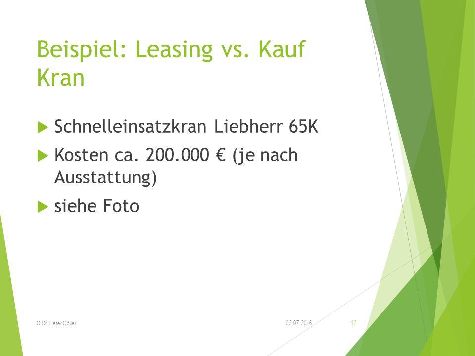 Beispiel: Leasing vs. Kauf Kran  Schnelleinsatzkran Liebherr 65K  Kosten ca. 200.000 € (je nach Ausstattung)  siehe Foto 02.07.2016© Dr. Peter Göll