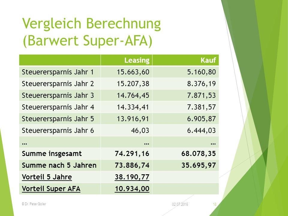 Vergleich Berechnung (Barwert Super-AFA) LeasingKauf Steuerersparnis Jahr 115.663,605.160,80 Steuerersparnis Jahr 215.207,388.376,19 Steuerersparnis J