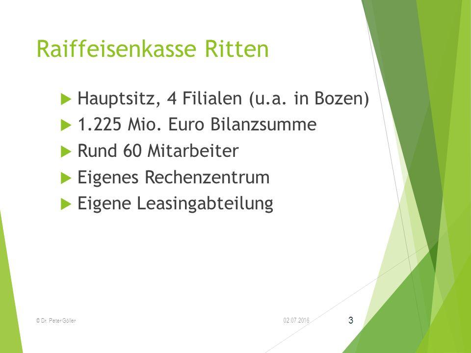 Raiffeisenkasse Ritten  Hauptsitz, 4 Filialen (u.a. in Bozen)  1.225 Mio. Euro Bilanzsumme  Rund 60 Mitarbeiter  Eigenes Rechenzentrum  Eigene Le