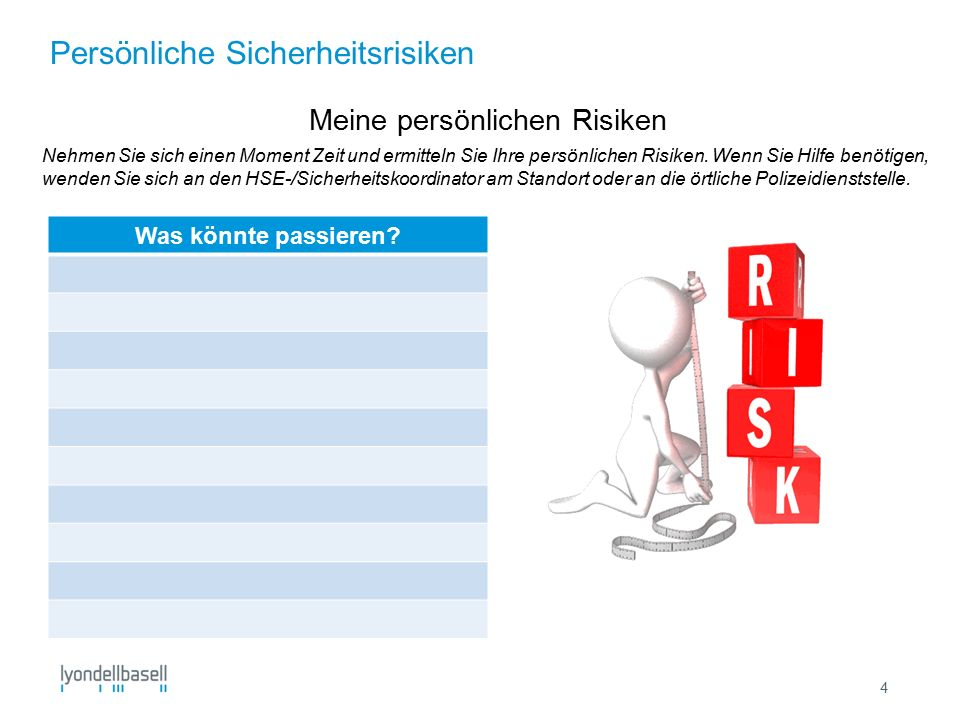 Persönliche Sicherheitsrisiken 4 Meine persönlichen Risiken Nehmen Sie sich einen Moment Zeit und ermitteln Sie Ihre persönlichen Risiken.
