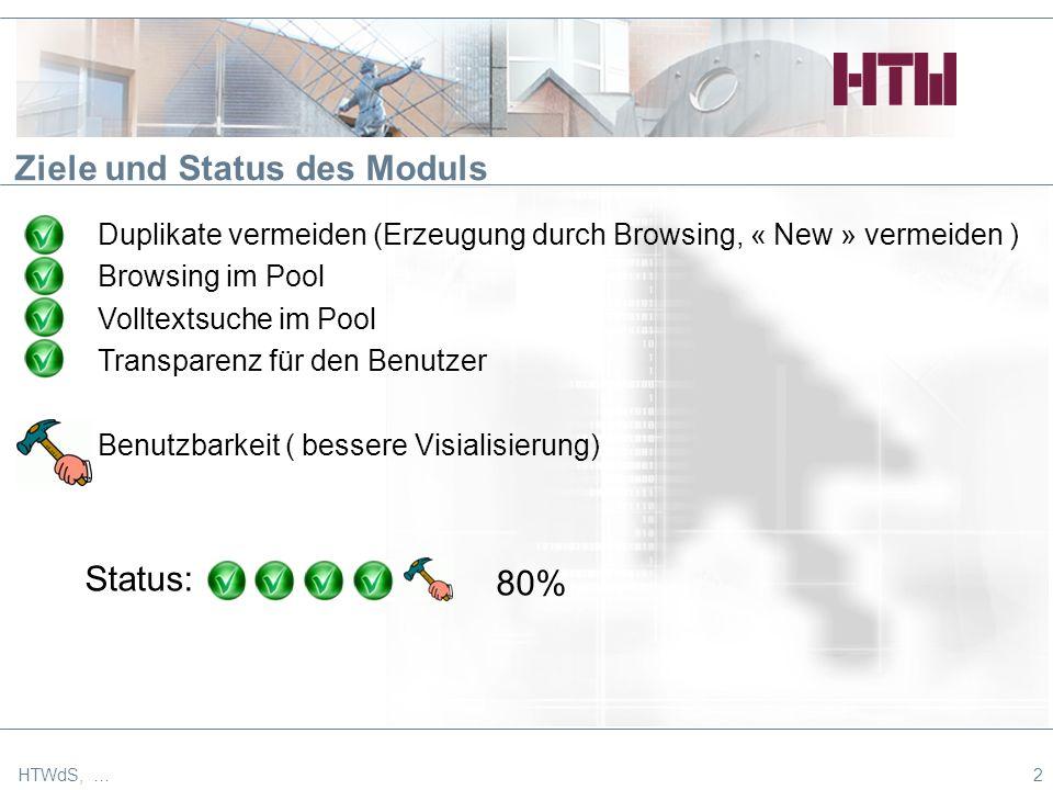 2 Ziele und Status des Moduls Duplikate vermeiden (Erzeugung durch Browsing, « New » vermeiden ) Browsing im Pool Volltextsuche im Pool Transparenz für den Benutzer Benutzbarkeit ( bessere Visialisierung) Status: 80%