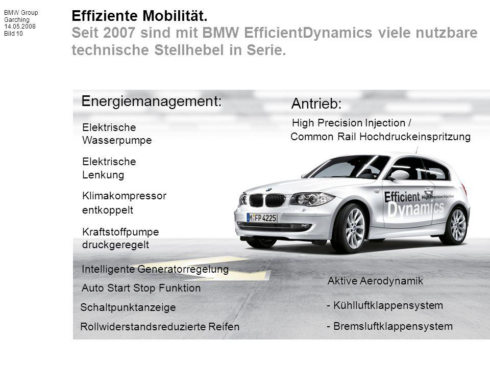 BMW Group Garching 14.05.2008 Bild 10 Effiziente Mobilität. Seit 2007 sind mit BMW EfficientDynamics viele nutzbare technische Stellhebel in Serie. El