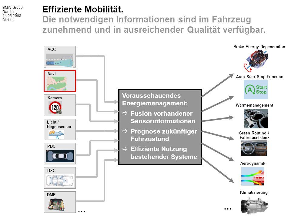 BMW Group Garching 14.05.2008 Bild 11 Effiziente Mobilität. Die notwendigen Informationen sind im Fahrzeug zunehmend und in ausreichender Qualität ver