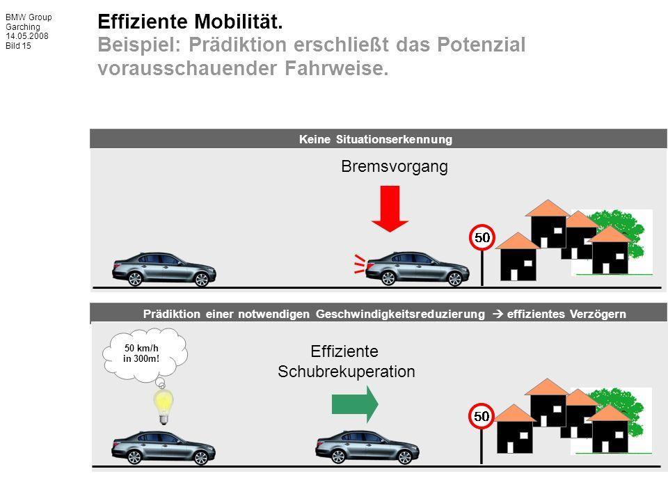 BMW Group Garching 14.05.2008 Bild 15 Effiziente Mobilität. Beispiel: Prädiktion erschließt das Potenzial vorausschauender Fahrweise. 50 km/h in 300m!