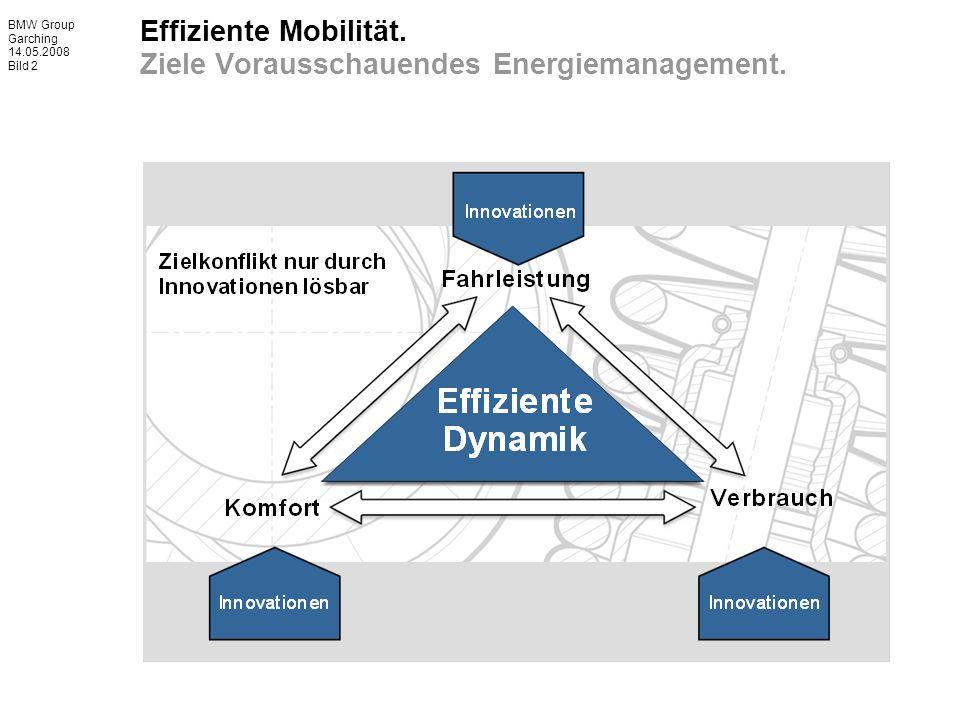 BMW Group Garching 14.05.2008 Bild 2 Effiziente Mobilität. Ziele Vorausschauendes Energiemanagement.