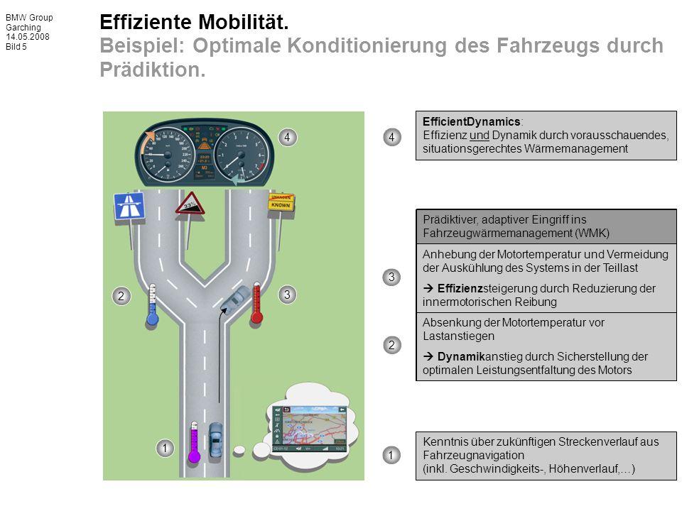 BMW Group Garching 14.05.2008 Bild 5 Effiziente Mobilität. Beispiel: Optimale Konditionierung des Fahrzeugs durch Prädiktion. Kenntnis über zukünftige