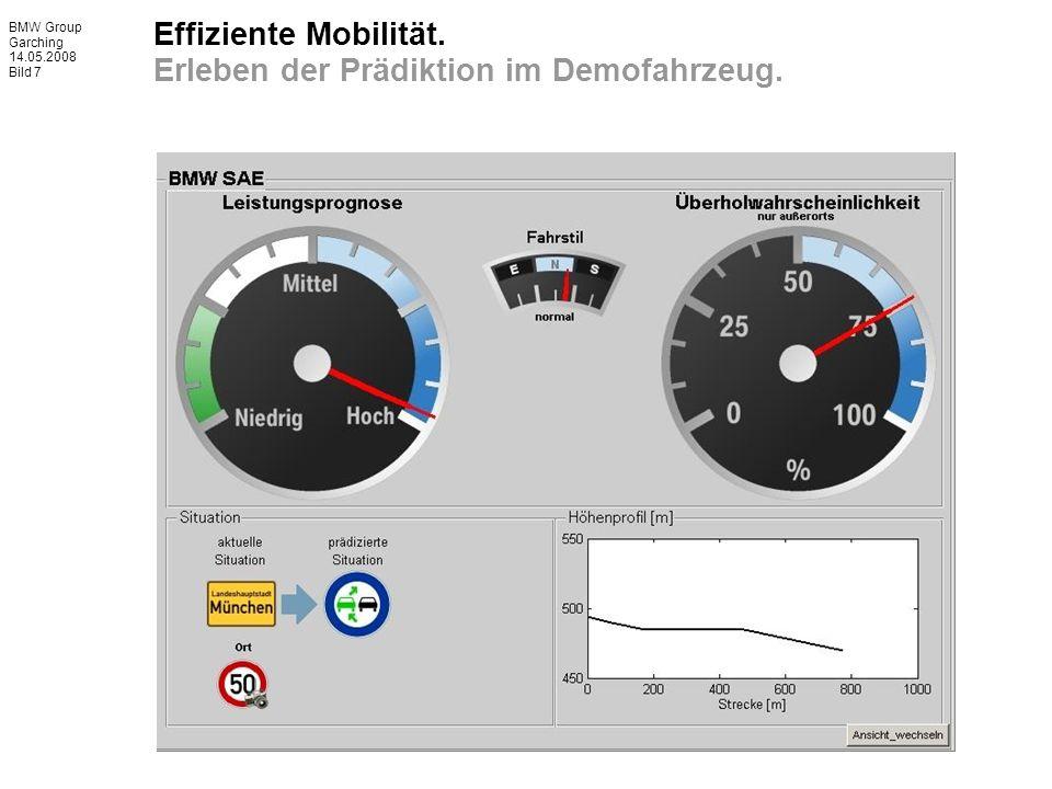 BMW Group Garching 14.05.2008 Bild 7 Effiziente Mobilität. Erleben der Prädiktion im Demofahrzeug.