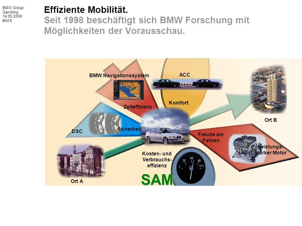 BMW Group Garching 14.05.2008 Bild 9 Effiziente Mobilität. Seit 1998 beschäftigt sich BMW Forschung mit Möglichkeiten der Vorausschau. SAM Leistungs-