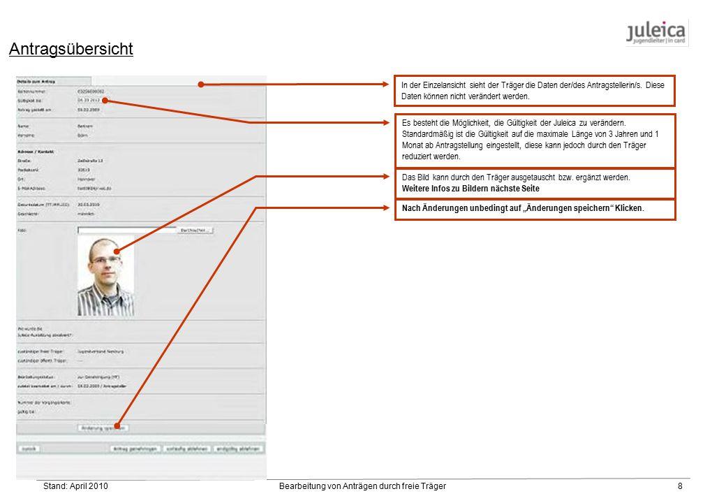 Stand: April 2010Bearbeitung von Anträgen durch freie Träger8 In der Einzelansicht sieht der Träger die Daten der/des Antragstellerin/s.