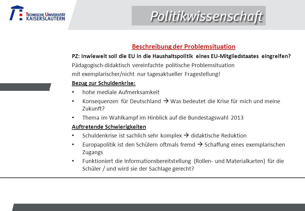 Beschreibung der Problemsituation PZ: Inwieweit soll die EU in die Haushaltspolitik eines EU-Mitgliedstaates eingreifen? Pädagogisch-didaktisch verein