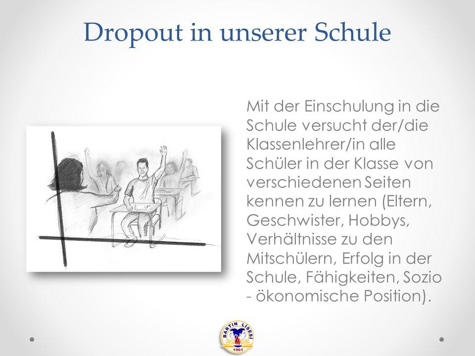 Dropout in unserer Schule Wahrend des vierjährigen Studiums in der Schule werden die Schüler von dem/der Klassenlehrer/in und Beratungslehrern betreut.