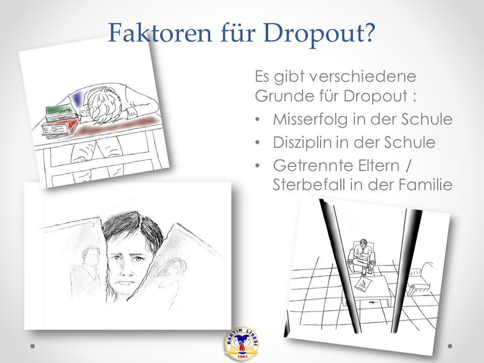 Es gibt verschiedene Grunde für Dropout : Misserfolg in der Schule Disziplin in der Schule Getrennte Eltern / Sterbefall in der Familie Faktoren für Dropout?