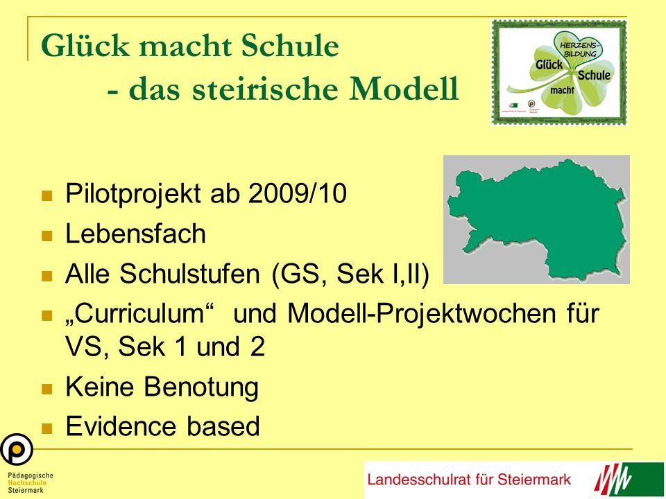 """Glück macht Schule - das steirische Modell Pilotprojekt ab 2009/10 Lebensfach Alle Schulstufen (GS, Sek I,II) """"Curriculum und Modell-Projektwochen für VS, Sek 1 und 2 Keine Benotung Evidence based"""