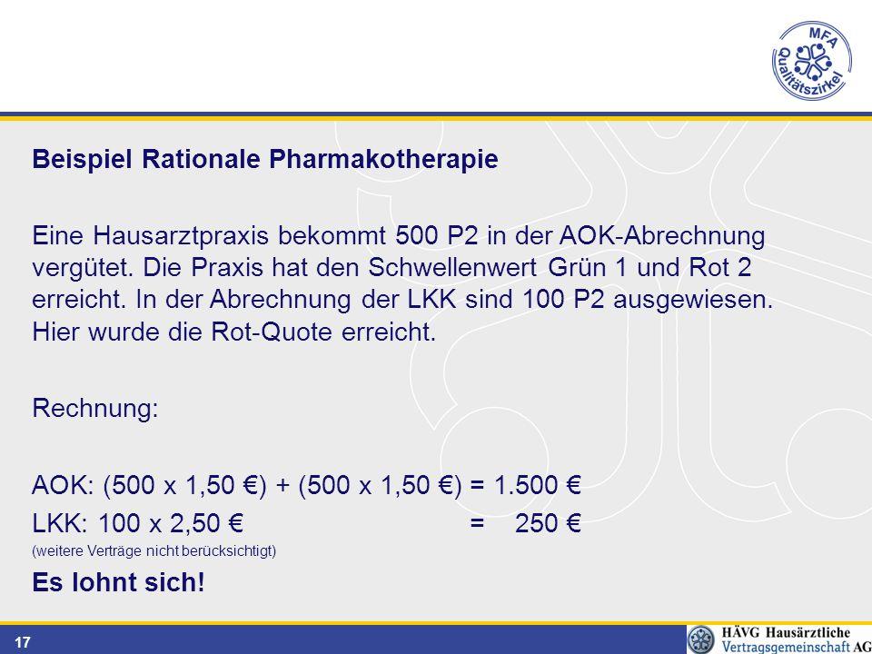 17 Beispiel Rationale Pharmakotherapie Eine Hausarztpraxis bekommt 500 P2 in der AOK-Abrechnung vergütet.