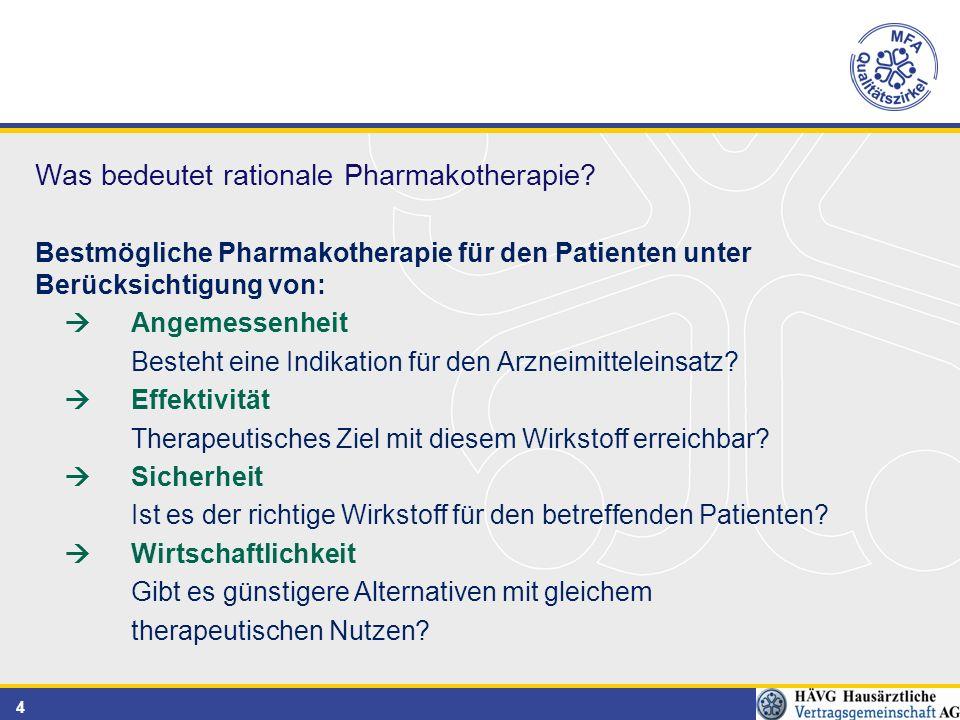 4 Bestmögliche Pharmakotherapie für den Patienten unter Berücksichtigung von:  Angemessenheit Besteht eine Indikation für den Arzneimitteleinsatz.