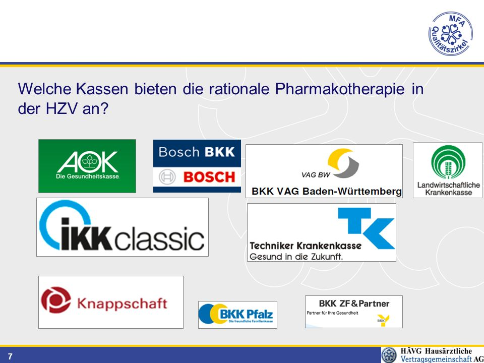 7 Welche Kassen bieten die rationale Pharmakotherapie in der HZV an
