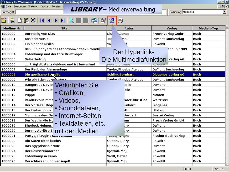 Der Hyperlink- Die Multimediafunktion Verknüpfen Sie Grafiken, Videos, Sounddateien, Internet-Seiten, Textdateien, etc.