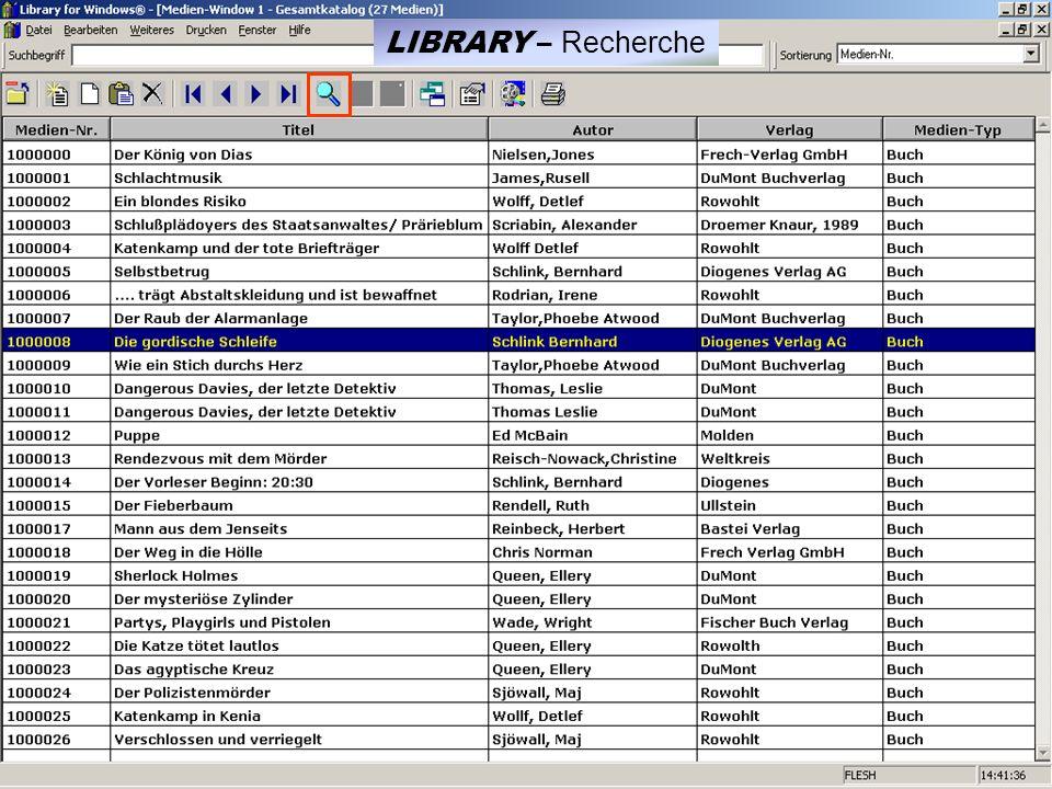 LIBRARY – Recherche