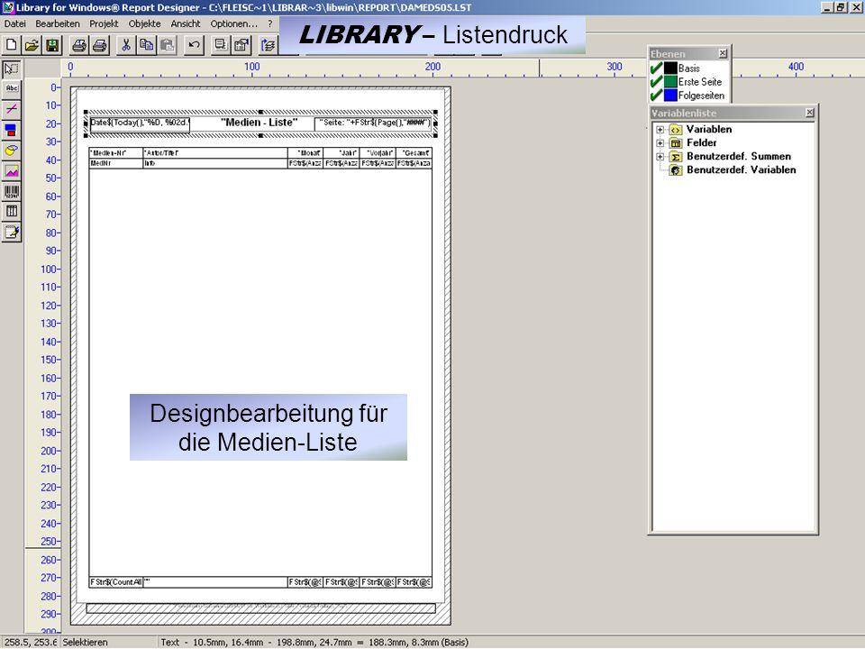 Designbearbeitung für die Medien-Liste LIBRARY – Listendruck
