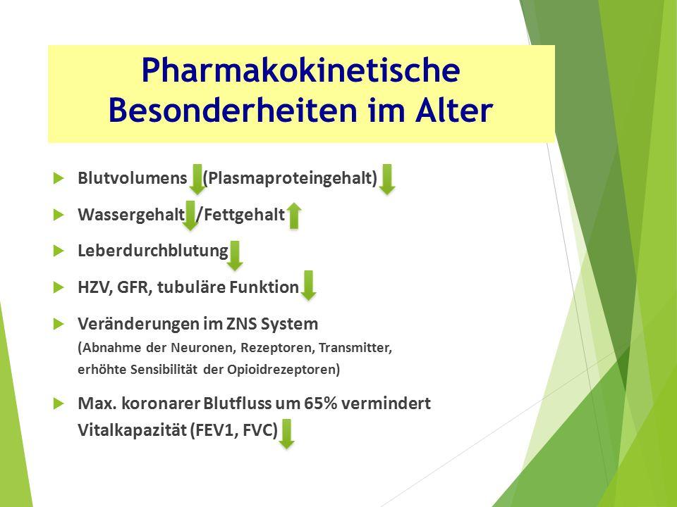  Blutvolumens (Plasmaproteingehalt)  Wassergehalt /Fettgehalt  Leberdurchblutung  HZV, GFR, tubuläre Funktion  Veränderungen im ZNS System (Abnahme der Neuronen, Rezeptoren, Transmitter, erhöhte Sensibilität der Opioidrezeptoren)  Max.