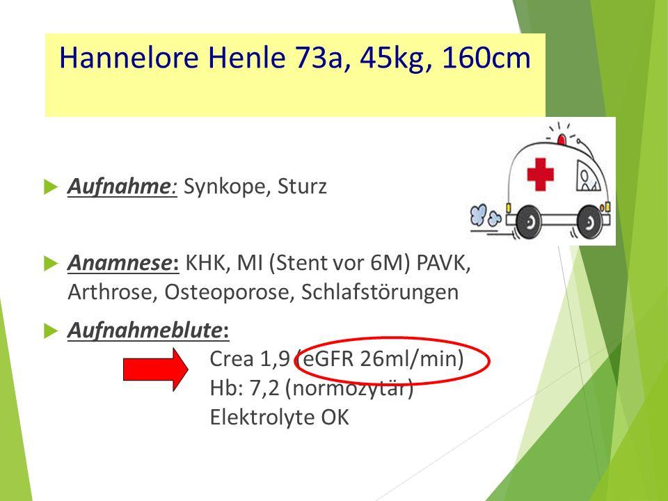  Aufnahme: Synkope, Sturz  Anamnese: KHK, MI (Stent vor 6M) PAVK, Arthrose, Osteoporose, Schlafstörungen  Aufnahmeblute: Crea 1,9 (eGFR 26ml/min) Hb: 7,2 (normozytär) Elektrolyte OK Hannelore Henle 73a, 45kg, 160cm
