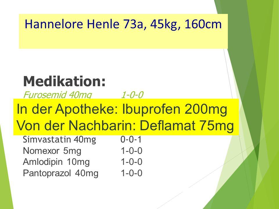 Medikation: Furosemid 40mg 1-0-0 Tritace 5mg1-0-0 T-Ass 100mg1-0-0 Metformin 1000mg 1-0-1 Simvastatin 40mg0-0-1 Nomexor 5mg1-0-0 Amlodipin 10mg1-0-0 Pantoprazol 40mg1-0-0 In der Apotheke: Ibuprofen 200mg Von der Nachbarin: Deflamat 75mg Hannelore Henle 73a, 45kg, 160cm