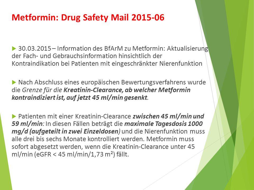 Metformin: Drug Safety Mail 2015-06  30.03.2015 – Information des BfArM zu Metformin: Aktualisierung der Fach- und Gebrauchsinformation hinsichtlich der Kontraindikation bei Patienten mit eingeschränkter Nierenfunktion  Nach Abschluss eines europäischen Bewertungsverfahrens wurde die Grenze für die Kreatinin-Clearance, ab welcher Metformin kontraindiziert ist, auf jetzt 45 ml/min gesenkt.