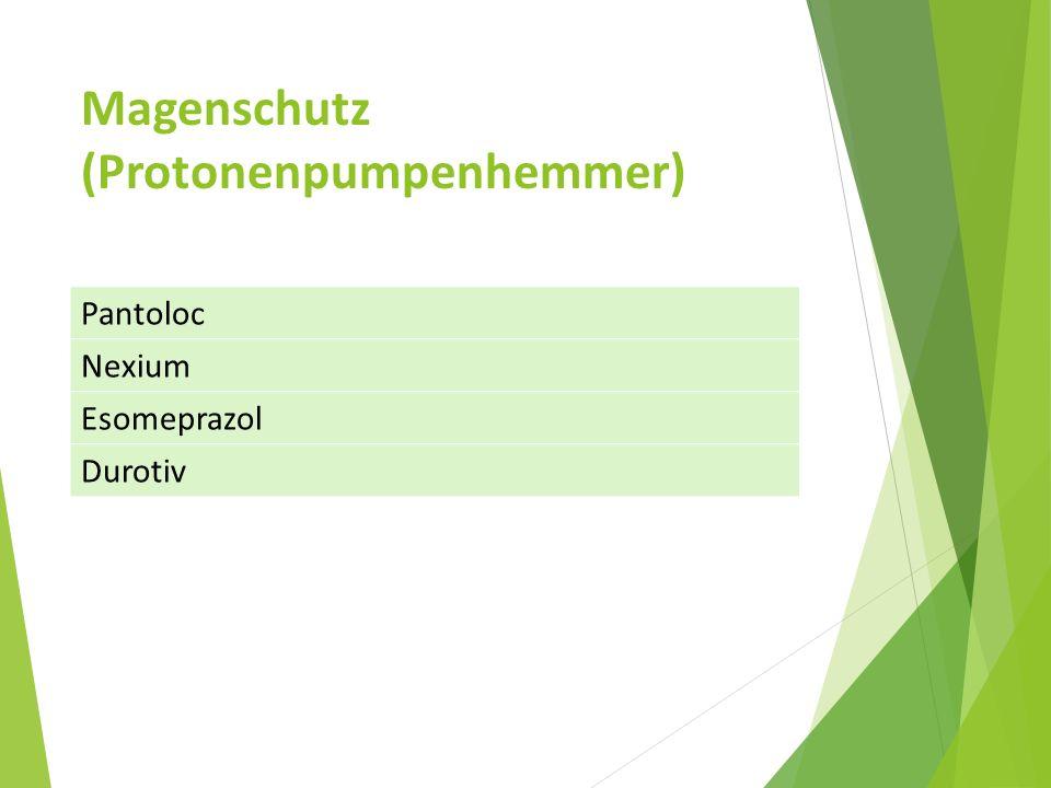 Magenschutz (Protonenpumpenhemmer) Pantoloc Nexium Esomeprazol Durotiv