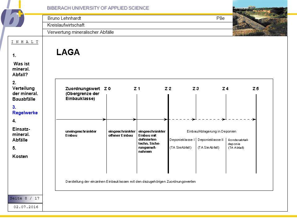 BIBERACH UNIVERSITY OF APPLIED SCIENCE Kreislaufwirtschaft P8e I N H A L T Verwertung mineralischer Abfälle Bruno Lehnhardt LAGA 02.07.2016 Seite 8 / 17 1.