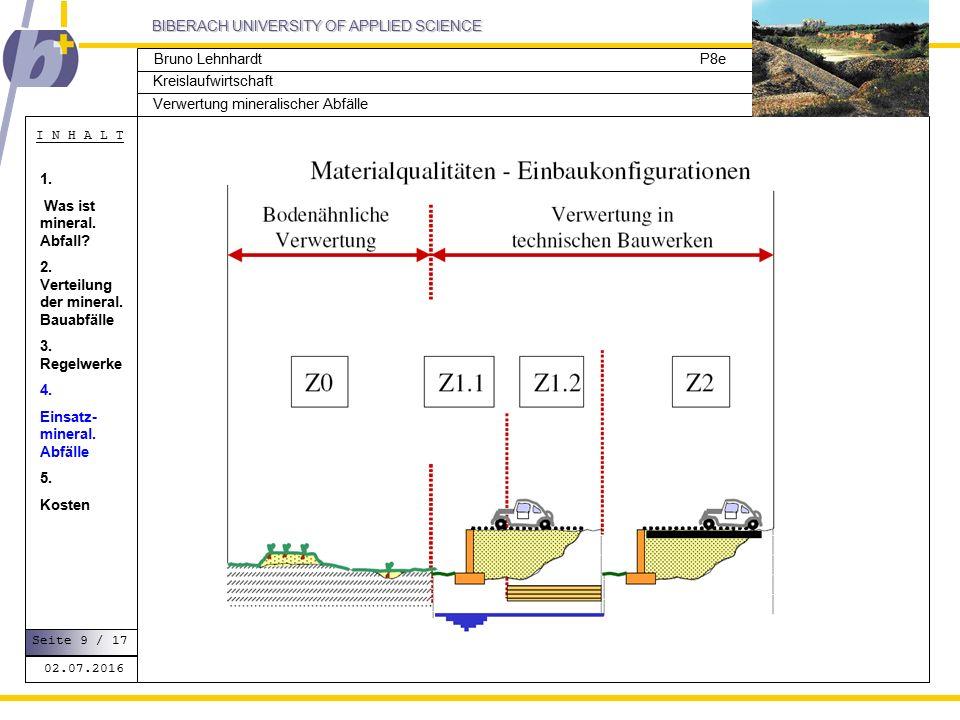 BIBERACH UNIVERSITY OF APPLIED SCIENCE Kreislaufwirtschaft P8e I N H A L T Verwertung mineralischer Abfälle Bruno Lehnhardt 02.07.2016 Seite 9 / 17 1.