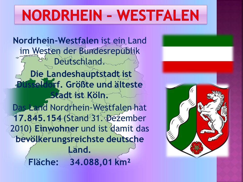 Nordrhein-Westfalen ist ein Land im Westen der Bundesrepublik Deutschland. Die Landeshauptstadt ist Düsseldorf. Größte und älteste Stadt ist Köln. Das