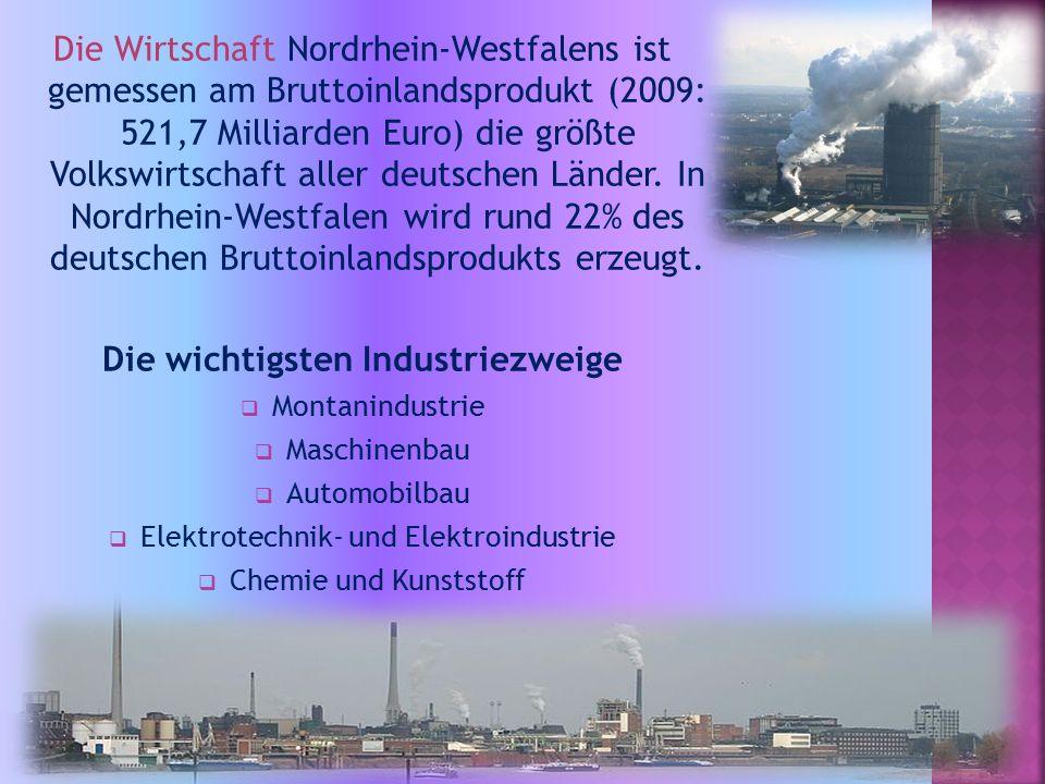 Die Wirtschaft Nordrhein-Westfalens ist gemessen am Bruttoinlandsprodukt (2009: 521,7 Milliarden Euro) die größte Volkswirtschaft aller deutschen Länder.