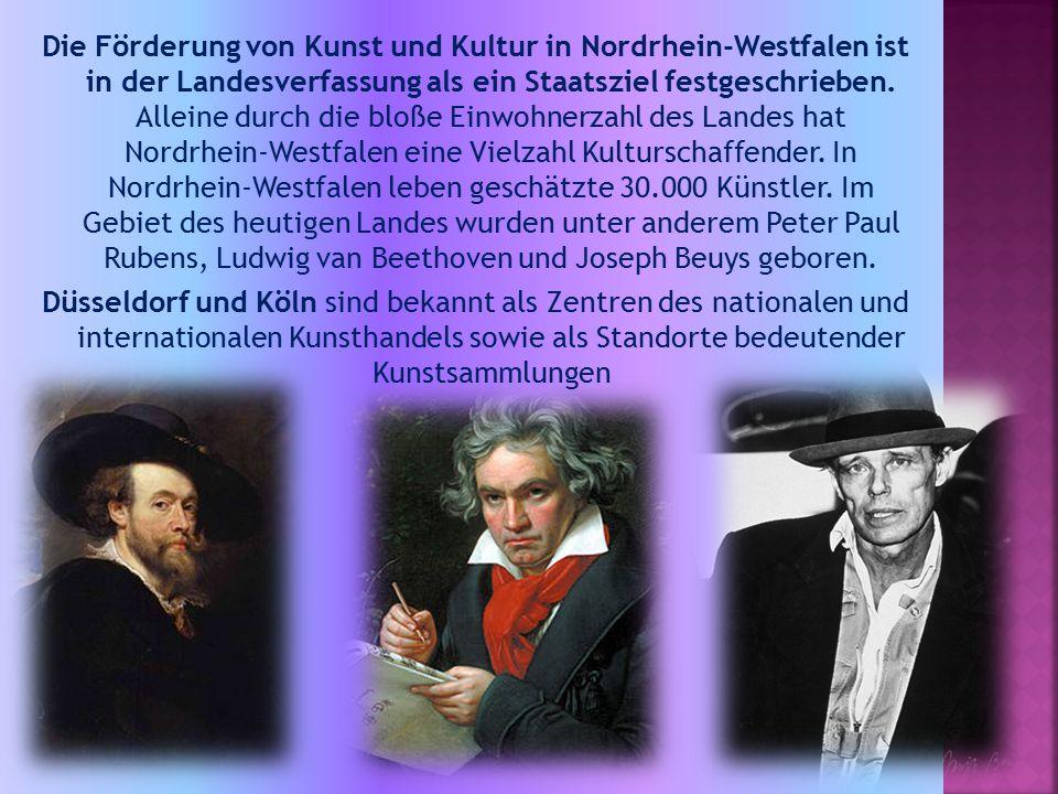 Die Förderung von Kunst und Kultur in Nordrhein-Westfalen ist in der Landesverfassung als ein Staatsziel festgeschrieben.