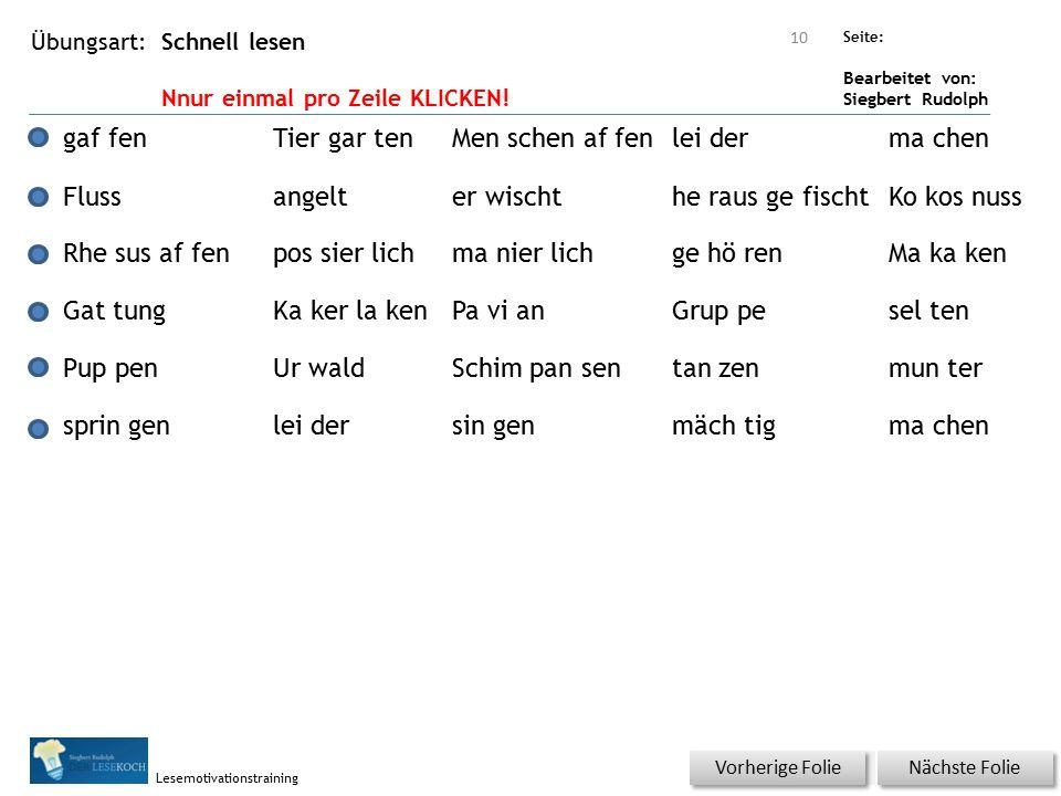 Übungsart: Seite: Bearbeitet von: Siegbert Rudolph Lesemotivationstraining Schnell lesen Nnur einmal pro Zeile KLICKEN.