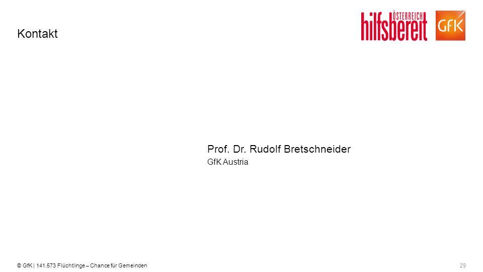29© GfK | 141.573 Flüchtlinge – Chance für Gemeinden Kontakt GfK Austria Prof. Dr. Rudolf Bretschneider
