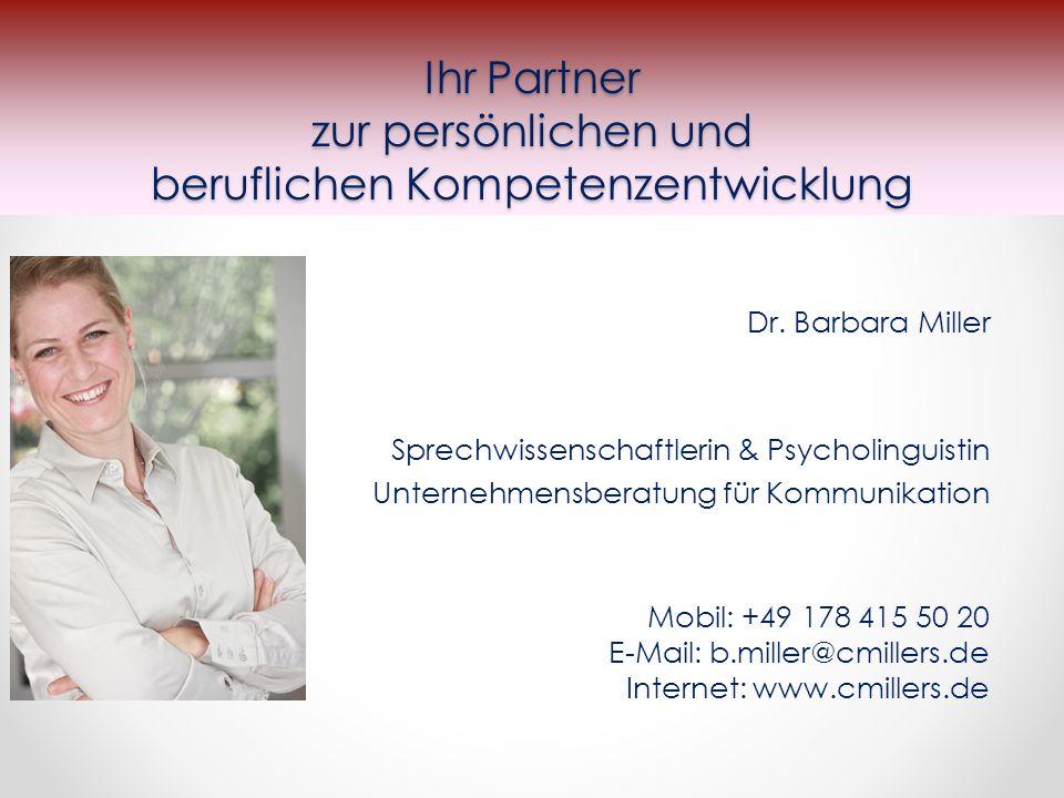 Ihr Partner zur persönlichen und beruflichen Kompetenzentwicklung Dr.