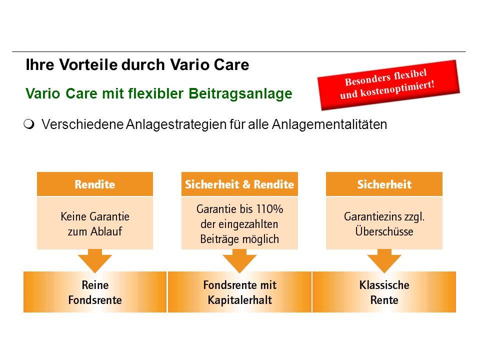 Verschiedene Anlagestrategien für alle Anlagementalitäten Ihre Vorteile durch Vario Care Vario Care mit flexibler Beitragsanlage Besonders flexibel und kostenoptimiert!