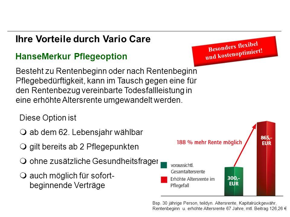 HanseMerkur Pflegeoption Besteht zu Rentenbeginn oder nach Rentenbeginn Pflegebedürftigkeit, kann im Tausch gegen eine für den Rentenbezug vereinbarte Todesfallleistung in eine erhöhte Altersrente umgewandelt werden.
