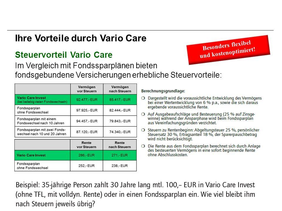 Steuervorteil Vario Care Ihre Vorteile durch Vario Care Im Vergleich mit Fondssparplänen bieten fondsgebundene Versicherungen erhebliche Steuervorteile: Besonders flexibel und kostenoptimiert!