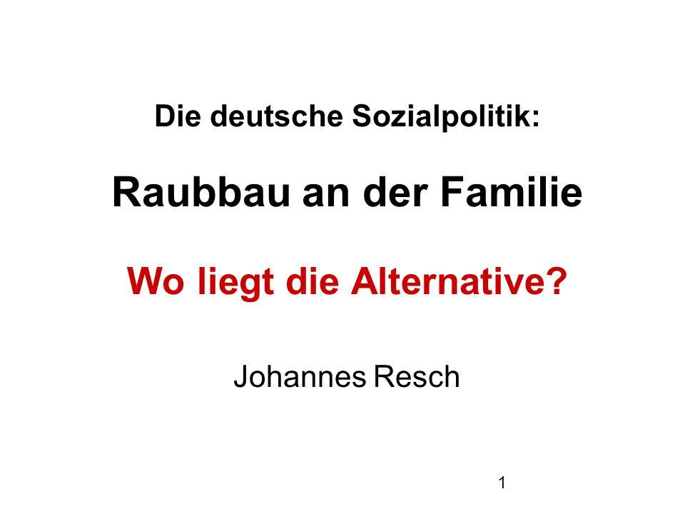 1 Die deutsche Sozialpolitik: Raubbau an der Familie Wo liegt die Alternative? Johannes Resch