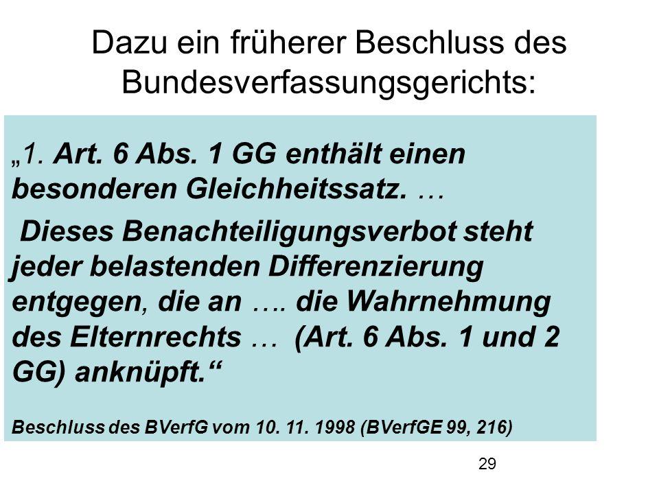 """29 Dazu ein früherer Beschluss des Bundesverfassungsgerichts: """"1."""