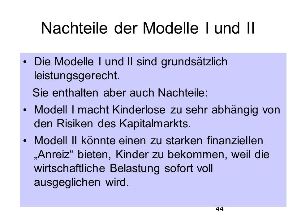 44 Nachteile der Modelle I und II Die Modelle I und II sind grundsätzlich leistungsgerecht.