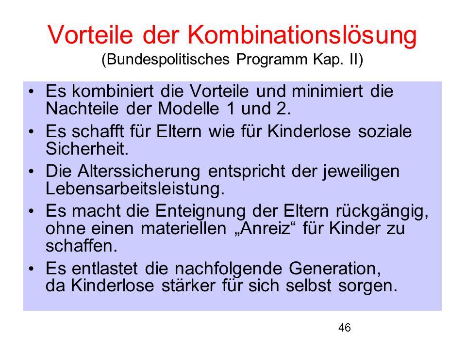 46 Vorteile der Kombinationslösung (Bundespolitisches Programm Kap.