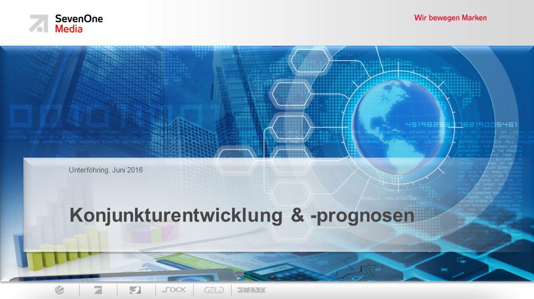 2 Key Facts SevenOne Media, Market Insights Deutsches Bruttoinlandsprodukt liegt 2016 auf moderatem Wachstumskurs, die Prognosen liegen in Schnitt bei ca.