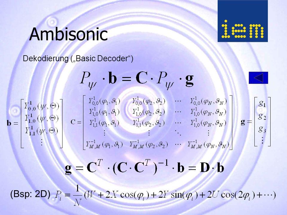 """Ambisonic Dekodierung (""""Basic Decoder ) (Bsp: 2D)"""