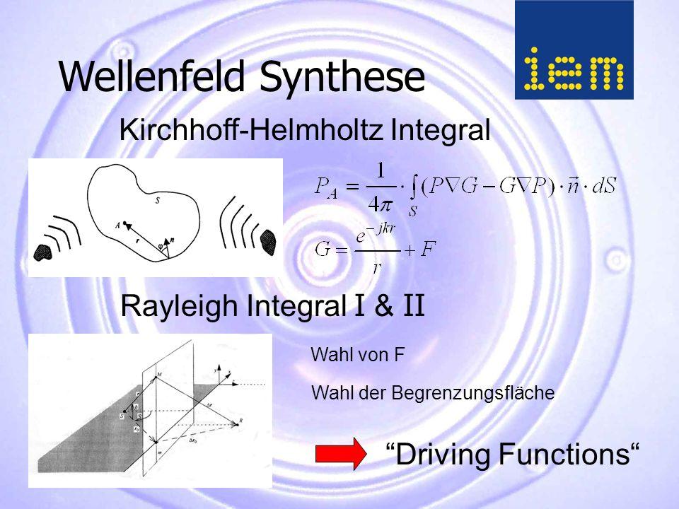 Kirchhoff-Helmholtz Integral Rayleigh Integral I & II Driving Functions Wellenfeld Synthese Wahl von F Wahl der Begrenzungsfläche