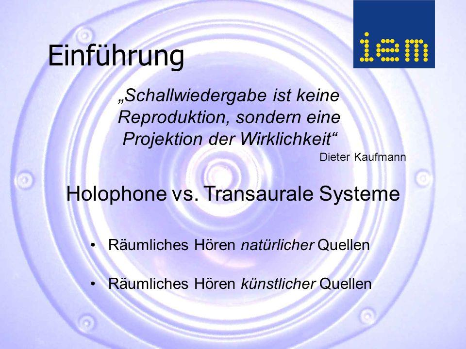 """Einführung Dieter Kaufmann """"Schallwiedergabe ist keine Reproduktion, sondern eine Projektion der Wirklichkeit Holophone vs."""
